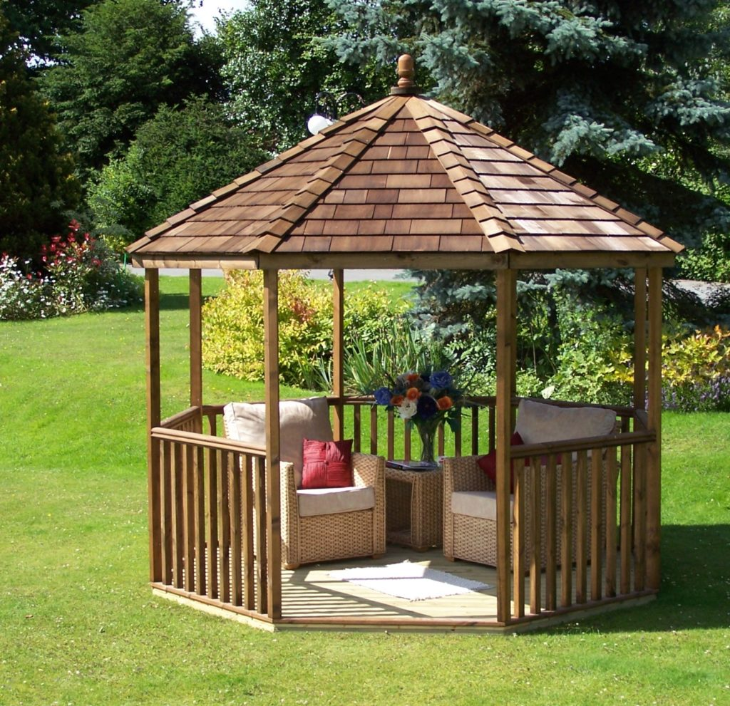 10' x 10' Wentworth summerhouse/gazebo in softwood timber with optional cedar shingle roof