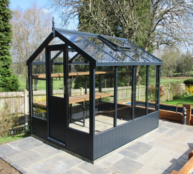 Swallow Kingfisher Greenhouse 6'8 x 8'4 in Railings