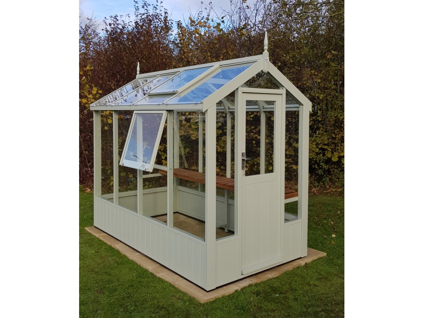 Swallow Lark Greenhouse 4'7x8'4 painted Vert De Terre with optional side vent