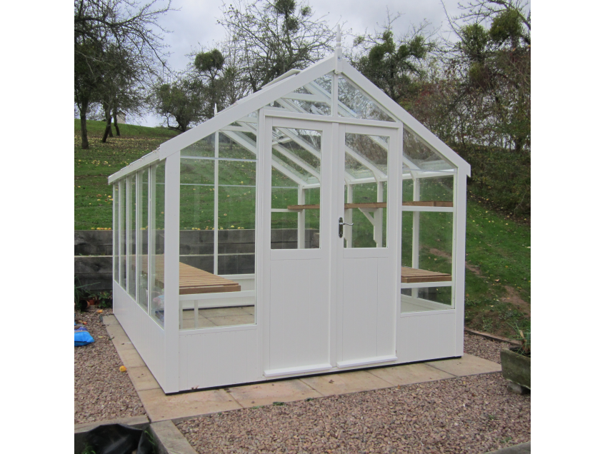Swallow Raven greenhouse painted in Lily White