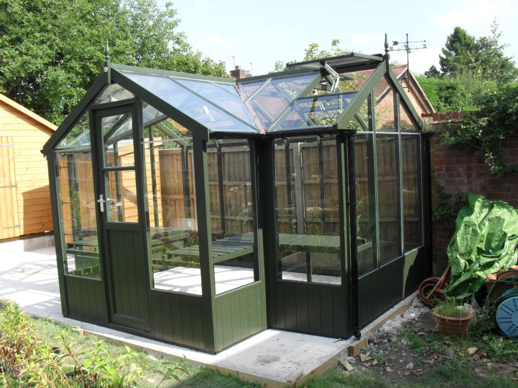 Swallow Cygnet greenhouse 6'8 x 11'5 painted Olive