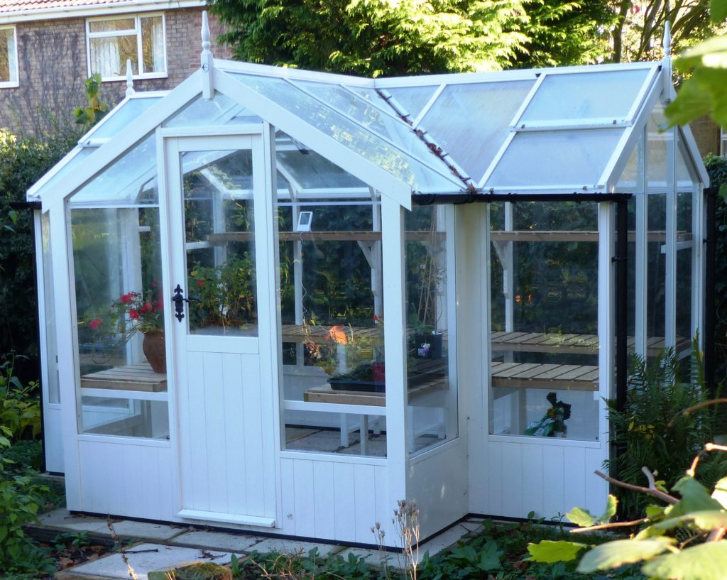 Swallow Cygnet greenhouse 6'8 x 11'5 painted Robins's Egg Blue