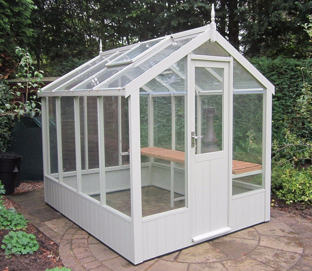Kingfisher Swallow 6'8 x8'4 greenhouse painted Lilly White